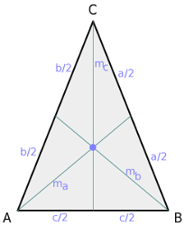 Isosceles triangle, median lines and centroid