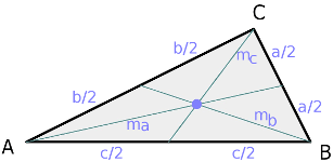 Right triangle, median lines and centroid
