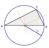 Right triangle, perpendicular bisectors and circumcircle