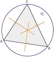 Isosceles triangle, perpendicular bisectors and circumcircle